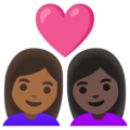 Couple with Heart: Woman, Woman, Medium-Dark Skin Tone, Dark Skin Tone on Google Android 11.0 December 2020 Feature Drop