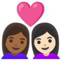Couple with Heart: Woman, Woman, Medium-Dark Skin Tone, Light Skin Tone on Google Android 11.0 December 2020 Feature Drop
