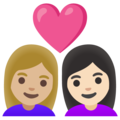 Couple with Heart: Woman, Woman, Medium-Light Skin Tone, Light Skin Tone on Google Android 11.0 December 2020 Feature Drop