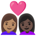 Couple with Heart: Woman, Woman, Medium Skin Tone, Dark Skin Tone on Google Android 11.0 December 2020 Feature Drop
