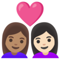 Couple with Heart: Woman, Woman, Medium Skin Tone, Light Skin Tone on Google Android 11.0 December 2020 Feature Drop