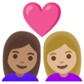 Couple with Heart: Woman, Woman, Medium Skin Tone, Medium-Light Skin Tone on Google Android 11.0 December 2020 Feature Drop