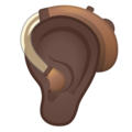 Ear with Hearing Aid: Dark Skin Tone on Google Android 11.0 December 2020 Feature Drop