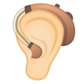 Ear with Hearing Aid: Light Skin Tone on Google Android 11.0 December 2020 Feature Drop
