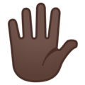 Hand with Fingers Splayed: Dark Skin Tone on Google Android 11.0 December 2020 Feature Drop