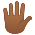 Hand with Fingers Splayed: Medium-Dark Skin Tone on Google Android 11.0 December 2020 Feature Drop