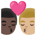 Kiss: Man, Man, Dark Skin Tone, Medium-Light Skin Tone on Google Android 11.0 December 2020 Feature Drop