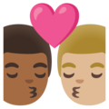 Kiss: Man, Man, Medium-Dark Skin Tone, Medium-Light Skin Tone on Google Android 11.0 December 2020 Feature Drop