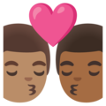 Kiss: Man, Man, Medium Skin Tone, Medium-Dark Skin Tone on Google Android 11.0 December 2020 Feature Drop