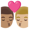 Kiss: Man, Man, Medium Skin Tone, Medium-Light Skin Tone on Google Android 11.0 December 2020 Feature Drop