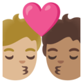 Kiss: Person, Person, Medium-Light Skin Tone, Medium Skin Tone on Google Android 11.0 December 2020 Feature Drop