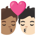 Kiss: Person, Person, Medium Skin Tone, Light Skin Tone on Google Android 11.0 December 2020 Feature Drop
