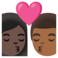 Kiss: Woman, Man, Dark Skin Tone, Medium-Dark Skin Tone on Google Android 11.0 December 2020 Feature Drop