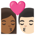 Kiss: Woman, Man, Medium-Dark Skin Tone, Light Skin Tone on Google Android 11.0 December 2020 Feature Drop