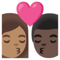 Kiss: Woman, Man, Medium Skin Tone, Dark Skin Tone on Google Android 11.0 December 2020 Feature Drop