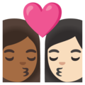 Kiss: Woman, Woman, Medium-Dark Skin Tone, Light Skin Tone on Google Android 11.0 December 2020 Feature Drop