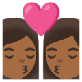 Kiss: Woman, Woman, Medium-Dark Skin Tone on Google Android 11.0 December 2020 Feature Drop