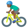 Man Biking: Medium-Dark Skin Tone on Google Android 11.0 December 2020 Feature Drop