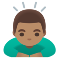 Man Bowing: Medium Skin Tone on Google Android 11.0 December 2020 Feature Drop