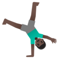 Man Cartwheeling: Dark Skin Tone on Google Android 11.0 December 2020 Feature Drop