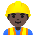 Man Construction Worker: Dark Skin Tone on Google Android 11.0 December 2020 Feature Drop