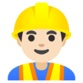 Man Construction Worker: Light Skin Tone on Google Android 11.0 December 2020 Feature Drop