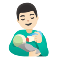 Man Feeding Baby: Light Skin Tone on Google Android 11.0 December 2020 Feature Drop