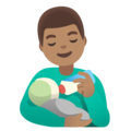 Man Feeding Baby: Medium Skin Tone on Google Android 11.0 December 2020 Feature Drop