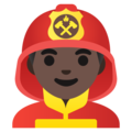 Man Firefighter: Dark Skin Tone on Google Android 11.0 December 2020 Feature Drop