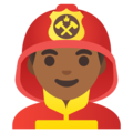 Man Firefighter: Medium-Dark Skin Tone on Google Android 11.0 December 2020 Feature Drop