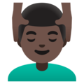 Man Getting Massage: Dark Skin Tone on Google Android 11.0 December 2020 Feature Drop