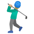 Man Golfing: Medium-Light Skin Tone on Google Android 11.0 December 2020 Feature Drop
