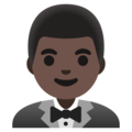Man in Tuxedo: Dark Skin Tone on Google Android 11.0 December 2020 Feature Drop