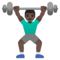 Man Lifting Weights: Dark Skin Tone on Google Android 11.0 December 2020 Feature Drop
