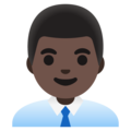 Man Office Worker: Dark Skin Tone on Google Android 11.0 December 2020 Feature Drop
