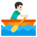 Man Rowing Boat: Light Skin Tone on Google Android 11.0 December 2020 Feature Drop