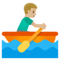 Man Rowing Boat: Medium-Light Skin Tone on Google Android 11.0 December 2020 Feature Drop
