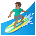 Man Surfing: Medium Skin Tone on Google Android 11.0 December 2020 Feature Drop