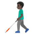 Man with White Cane: Dark Skin Tone on Google Android 11.0 December 2020 Feature Drop