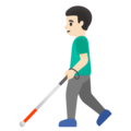 Man with White Cane: Light Skin Tone on Google Android 11.0 December 2020 Feature Drop