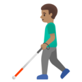 Man with White Cane: Medium Skin Tone on Google Android 11.0 December 2020 Feature Drop