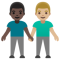 Men Holding Hands: Dark Skin Tone, Medium-Light Skin Tone on Google Android 11.0 December 2020 Feature Drop