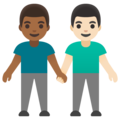 Men Holding Hands: Medium-Dark Skin Tone, Light Skin Tone on Google Android 11.0 December 2020 Feature Drop