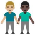 Men Holding Hands: Medium-Light Skin Tone, Dark Skin Tone on Google Android 11.0 December 2020 Feature Drop