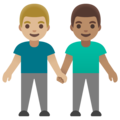 Men Holding Hands: Medium-Light Skin Tone, Medium Skin Tone on Google Android 11.0 December 2020 Feature Drop