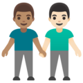 Men Holding Hands: Medium Skin Tone, Light Skin Tone on Google Android 11.0 December 2020 Feature Drop