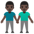 Men Holding Hands: Dark Skin Tone on Google Android 11.0 December 2020 Feature Drop