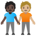 People Holding Hands: Dark Skin Tone, Medium-Light Skin Tone on Google Android 11.0 December 2020 Feature Drop