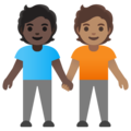 People Holding Hands: Dark Skin Tone, Medium Skin Tone on Google Android 11.0 December 2020 Feature Drop