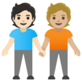People Holding Hands: Light Skin Tone, Medium-Light Skin Tone on Google Android 11.0 December 2020 Feature Drop